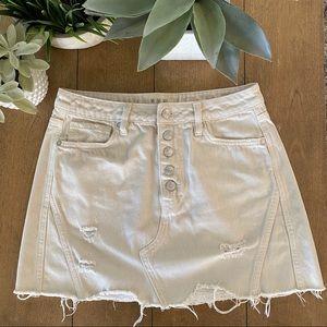 Free People Destroyed Button Denim Mini Skirt